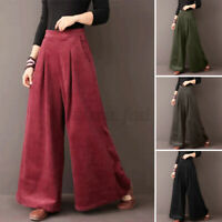 UK Women Flare Wide Leg Pants Casual Loose Corduroy Culottes High Waist Trousers