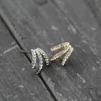 Fashion Jewelry New 18K Gold / White Gold Plated Crystal Claw Hook Stud Earrings