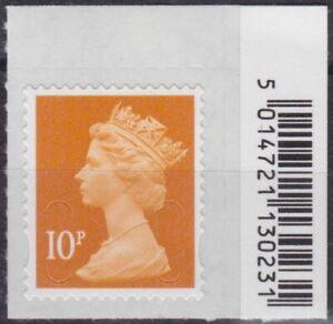 z4853) Great Britain - Machins. 2016 MNH SG u2923 10p Light tan M16L Barcode Tab