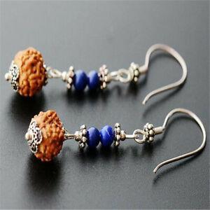 National Rudraksha blue gold stone silver eardrops Holiday gifts Thanksgiving