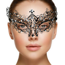 Black Lace Luxury Metal Masquerade Venetian Mask Filigree Diamanté Fancy Dress