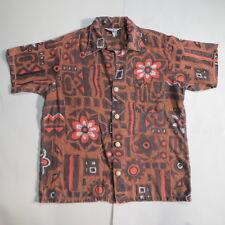 Vtg ca 1960 Island Creations Lg Hawaiian Shirt Tribal Flower Print