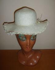 Girls Straw Fringe Sun Hat Edwardian Fairy Tale Bo Peep Fancy Dress Costume Used