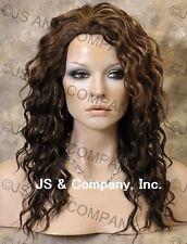 HEAT SAFE HUMAN HAIR Blend Long Wavy Layered Brown Aburn Mix Wig WBPL 4-27