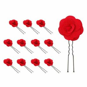 Red Rose Hair Clip Set, Flower Accessories for Women (3.5 In, 12 Pack)