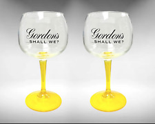 More details for 2 x  gordon's large balloon yellow stem gin glass bowl goblet in box new
