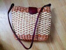 Vintage TALBOTS Wicker Straw Beach Bag Shoulder Leather Trim Rattan Mia Blogger