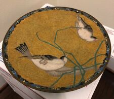 Japanese Cloisonne Plate Dish Tray Birds Yellow Antique Enamel