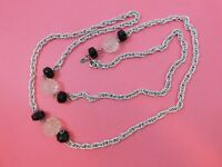 Vintage Signed Sarah Coventry Silver Tone Chain Black Clear Lucite Bead Necklace