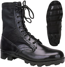 Black Leather Military Jungle Boots Panama Sole Tactical Combat Army Vietnam
