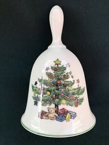 "Nikko Christmastime Dinner Bell In Box 4 3/4"" Classic Christmas Tree Pattern"