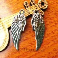 10pcs 30*9mm Charm angel wing pendant Diy Jewelry For Bracelet Tibet Silver 7134