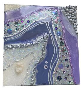 Geode Resin Glitter Glass Purple Lilac Silver Crystal Picture Wall Art
