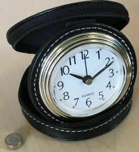 Analogue Travel Alarm Clock  Small handy clock that zips into its own case