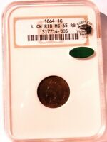 1864 L INDIAN HEAD CENT PENNY NGC MS65 RB + CAC + EAGLE EYE PHOTO SEAL