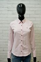 Camicia Donna TOMMY HILFIGER Taglia S Maglia Bianca Rosa Polo Manica Lunga Shirt