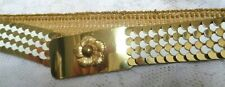 "Vtg 70s Disco Gold Tone White Metal Fish Scale Belt Elastic Stretch 34""-44"" X-Lg"