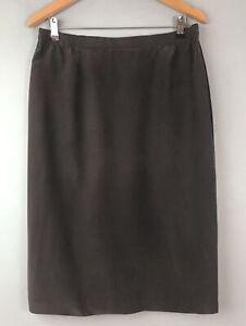 Vintage taupe pure silk fitted skirt 14 Vintage Lined Midi