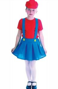 Childrens Kids Plumber Girl Fancy Dress Costume Mario Brothers Oufit 6-10 Yrs