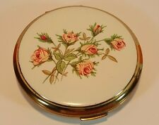 VINTAGE STRATTON POWDER COMPACT - WHITE ENAMELLED PINK ROSES