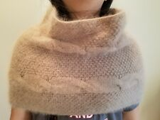 hand-knitted  Angora Goats cashmere simple  infinity scarf (beige)