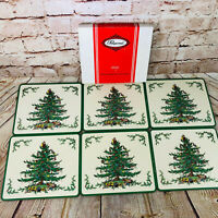 lot of 6 Vintage Spode Christmas Tree placemats by Pimpernel 8.5 x 7.5 Med size