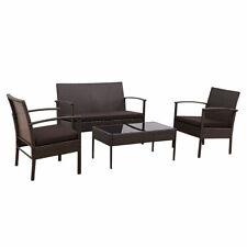 4 PCS Patio Rattan Wicker Furniture Set Loveseat Sofa Cushioned Garden Brown