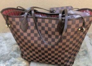 Louis Vuitton Neverfull MM Damier Ebene Red Interior Handbag