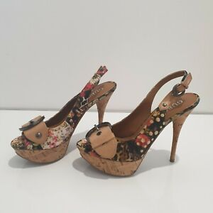 Brand New Guess Strappy Floral Peep Toe Cork Heels Size 6