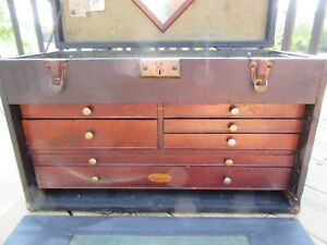 VINTAGE H GERSTNER & SONS 7 DRAWER MACHINIST TOOL CHEST + LOTS OF OLD TOOLS!