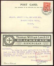 Gb kg5 1926 Ilustrado comercial Tarjeta t.w Lench + Perfin Blackheath