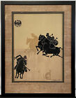 RARE Original c. 1925 Bertha Lum Chinese Polo Game Mixed Media Collage SIGNED