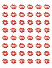 "48 VALENTINES RED LIPS KISS ENVELOPE SEALS LABELS STICKERS 1.2"" ROUND"