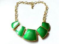 Kenneth Jay Lane KJL Green Enamel Gold Tone Chain Vintage Statement Necklace