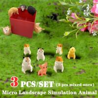 3Pcs Micro Landscape Cat Miniature Ornament Garden Simulation Home Cartoon Decor