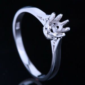 ROUND 5-5.5MM SOLITAIRE 925 SILVER PLATED GOLD SEMI MOUNT SETTING WEDDING RING
