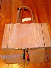 New - Large David Jones Handbag Faux Alligator Leather w/ Beaded Tassels CM0266