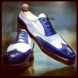 Handmade Men's Genuine White and Blue Leather Oxford Wingtip Lace up Shoes