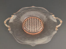 Lancaster Glass Co. deep pink depression glass sandwich plate, LANDRUM  1930's