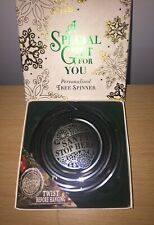 TREE SPINNER. SANTA STOP HERE. Boxed. Silver. Hanging Decoration. Christmas Tree