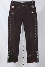 Brazilroxx Size 8 Brown Leather & Rivet Accented Straight Leg Jeans 766 T121D