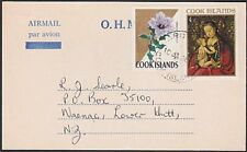 COOK IS 1969 OHMS airmail postcard used to NZ ex Rarotonga.................87727