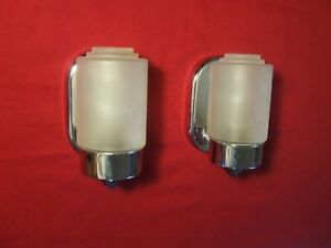 Vintage Art Deco Mid-Century Modern Wall Sconces Chrome Frosted Shades Bathroom