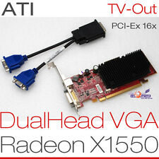 256MB ATI RADEON X 1550 RV516 PCIe Dual Cabeza 2x VGA Tarjeta gráfica Windows 7