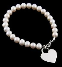 """SILVER TOTAL 10 PIECES OF PEARL BRACELET WITH DANGLING HEART CHARM 7 1/2"""""""