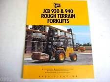 Jcb 930 & 940 Straight Mast Forklift 6 Pages,1992 Brochure #