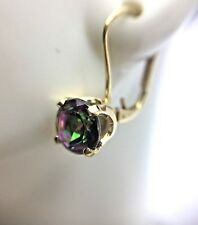 2.0 ct Mystic Topaz 14K Yellow Gold Earrings