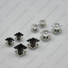 Pair Of Square Crystal Magnet Stud Earrings - Magnetic Mens Womens Fashion - NEW