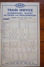 1940 LNER Railway Train Timetable Poster Scarborough Whitby Middlesbrough