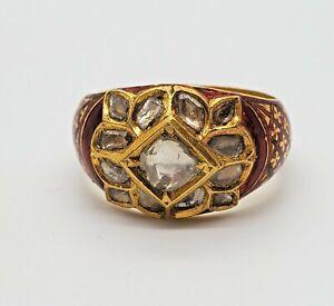 18KT GOLD RING UNCUT DIAMOND